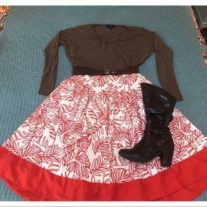 High rise midi box pleat skirt orange and cream 🧡